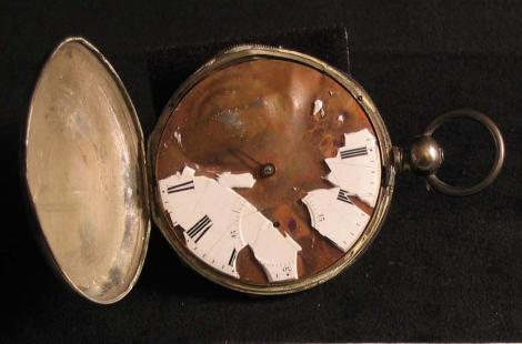 bullet struck pocket watch of sgt john o foering 86 20 3 3